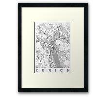 Zurich Map Line Framed Print