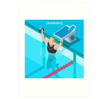 Swimming Isometric Vector Art Print