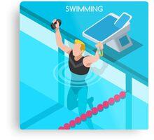 Swimming Isometric Vector Metal Print