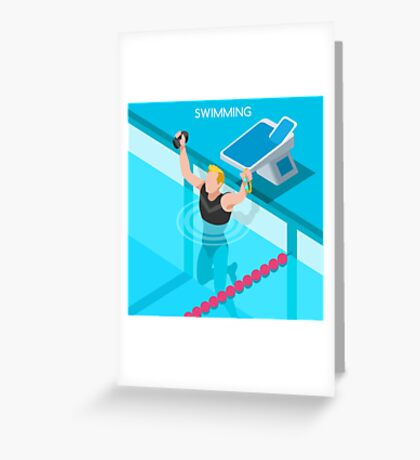 Swimming Isometric Vector Greeting Card