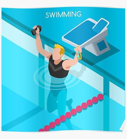 Swimming Isometric Vector Poster