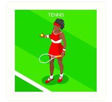 Tennis Player Vector Isometric Art Print