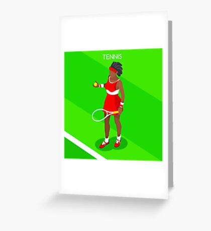 Tennis Player Vector Isometric Greeting Card
