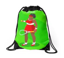 Tennis Player Vector Isometric Drawstring Bag