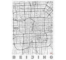 Beijing Map Line Photographic Print