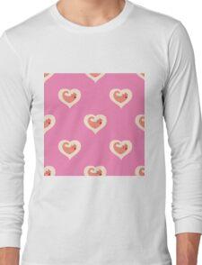 cute cat in heart  pattern Long Sleeve T-Shirt