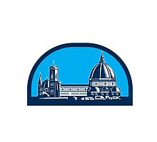 Dome of Florence Cathedral Retro Woodcut by patrimonio