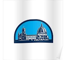 Dome of Florence Cathedral Retro Woodcut Poster