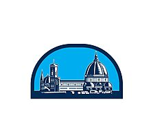 Dome of Florence Cathedral Retro Woodcut Photographic Print