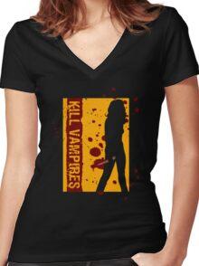 Kill Vampires Women's Fitted V-Neck T-Shirt