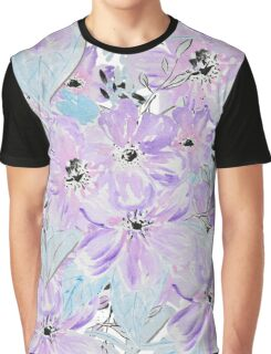 Modern lilac teal botanical hand painted flowers Graphic T-Shirt