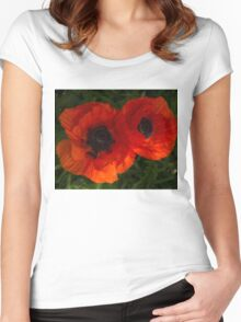 Hot Red Poppy Duet - Horizontal  Women's Fitted Scoop T-Shirt