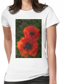 Hot Red Poppy Duet - a Vertical View Womens Fitted T-Shirt