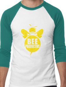 Bee Productive Cool Bee Graphic Typo Design Men's Baseball ¾ T-Shirt