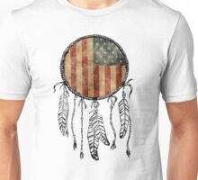 USA Flag Dream Catcher Unisex T-Shirt