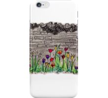 Spring flowers and stone wall iPhone Case/Skin