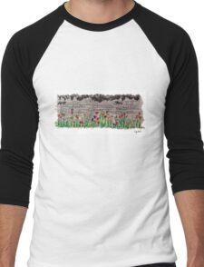 Spring flowers and stone wall Men's Baseball ¾ T-Shirt