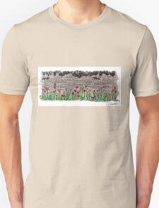 Spring flowers and stone wall Unisex T-Shirt