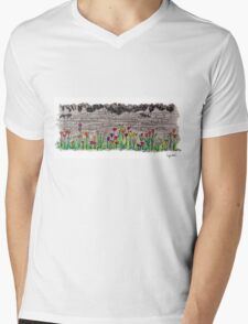 Spring flowers and stone wall T-Shirt