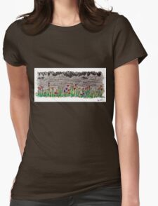 Spring flowers and stone wall Womens Fitted T-Shirt