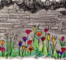 Spring flowers and stone wall Sticker