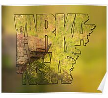 State of Arkansas Typography Blur - Perspective - Whitaker Point Hawksbill Crag Poster