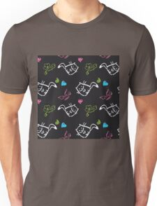 pattern with cats,hearts,butterfly Unisex T-Shirt