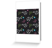pattern with cats,hearts,butterfly Greeting Card