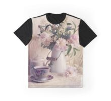 Still life with fresh flowers and tea set Graphic T-Shirt
