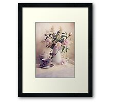 Still life with fresh flowers and tea set Framed Print