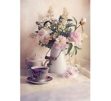 Still life with fresh flowers and tea set Photographic Print