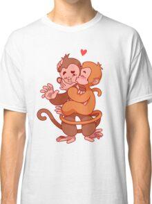 Two cute monkeys kissing.  Classic T-Shirt