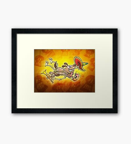 Mischievous dog stealing a Mexican skeleton Framed Print
