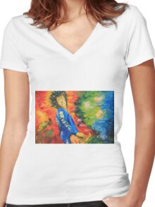Jimmy Page#1 Women's Fitted V-Neck T-Shirt