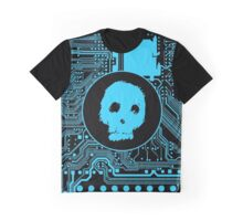Blue Blurry Skull (Cybergoth) Graphic T-Shirt