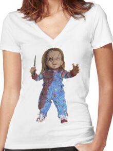 chucky, muñeca, diablos, mal, horror, Chukky, chuky, Women's Fitted V-Neck T-Shirt