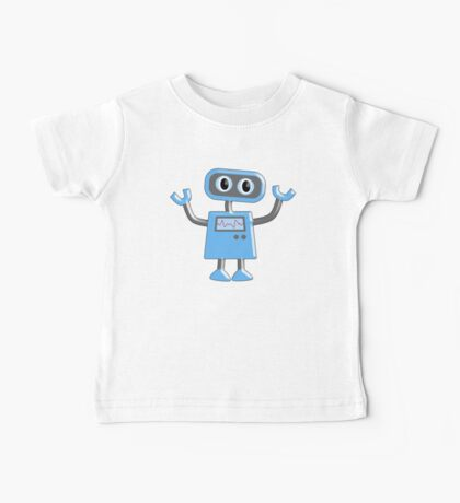 Robot, Toy, Blue, 1950s, Robotics, Fun, Cartoon Baby Tee