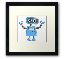 Robot, Toy, Blue, 1950s, Robotics, Fun, Cartoon Framed Print