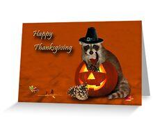 Thanksgiving Pilgrim Raccoon Greeting Card