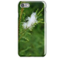 White Feather on Green Leaves iPhone Case/Skin