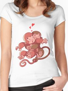 Two monkeys hugging. Women's Fitted Scoop T-Shirt