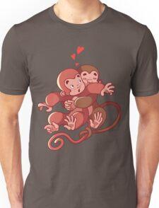 Two monkeys hugging. Unisex T-Shirt