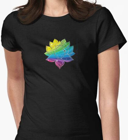 Rainbow Lotus  Womens Fitted T-Shirt