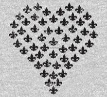 Fleur de Lis Heart (Black) by StudioBlack