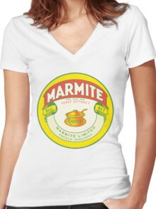 Marmite Retro Label Women's Fitted V-Neck T-Shirt