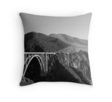 Bixby Creek Bridge Black and White Throw Pillow