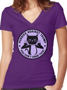 Pussies Against Trump Purple Women's Fitted V-Neck T-Shirt