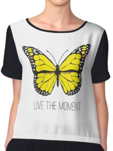 Live The Moment Inspirational Girly Butterfly Design Chiffon Top
