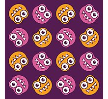 Purple Pink And Orange Cute Bugs Pattern Photographic Print