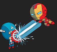Chibi Captain America vs Chibi Iron Man by SamuelBaiardo